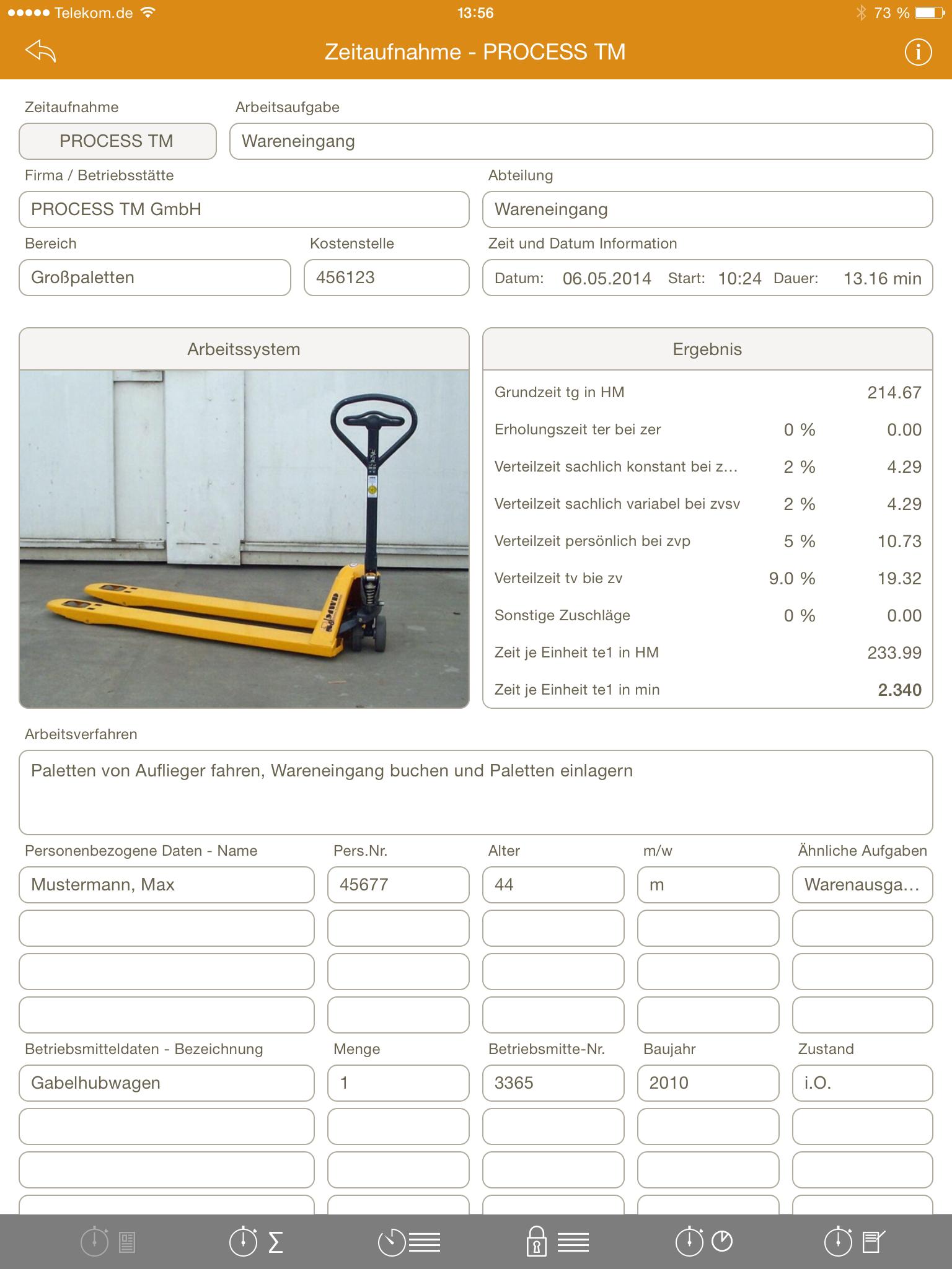 PROCESS TM app | Zeitaufnahmen mit iPad | 1.Seite